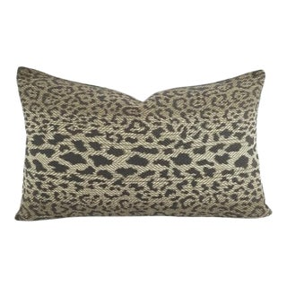 "Pindler Lynx in Greystone Lumbar Pillow Cover - 12"" X 20"" Gray Leopard Animal Print Cushion Case For Sale"