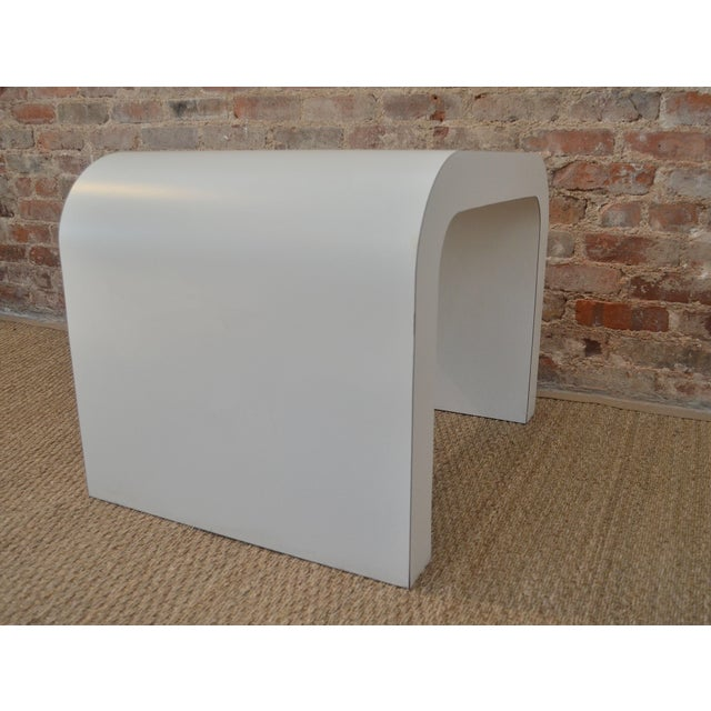 Modern White Laminate Waterfall Table For Sale - Image 3 of 7