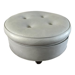 Vintage Large Round Ottoman on Wheels For Sale
