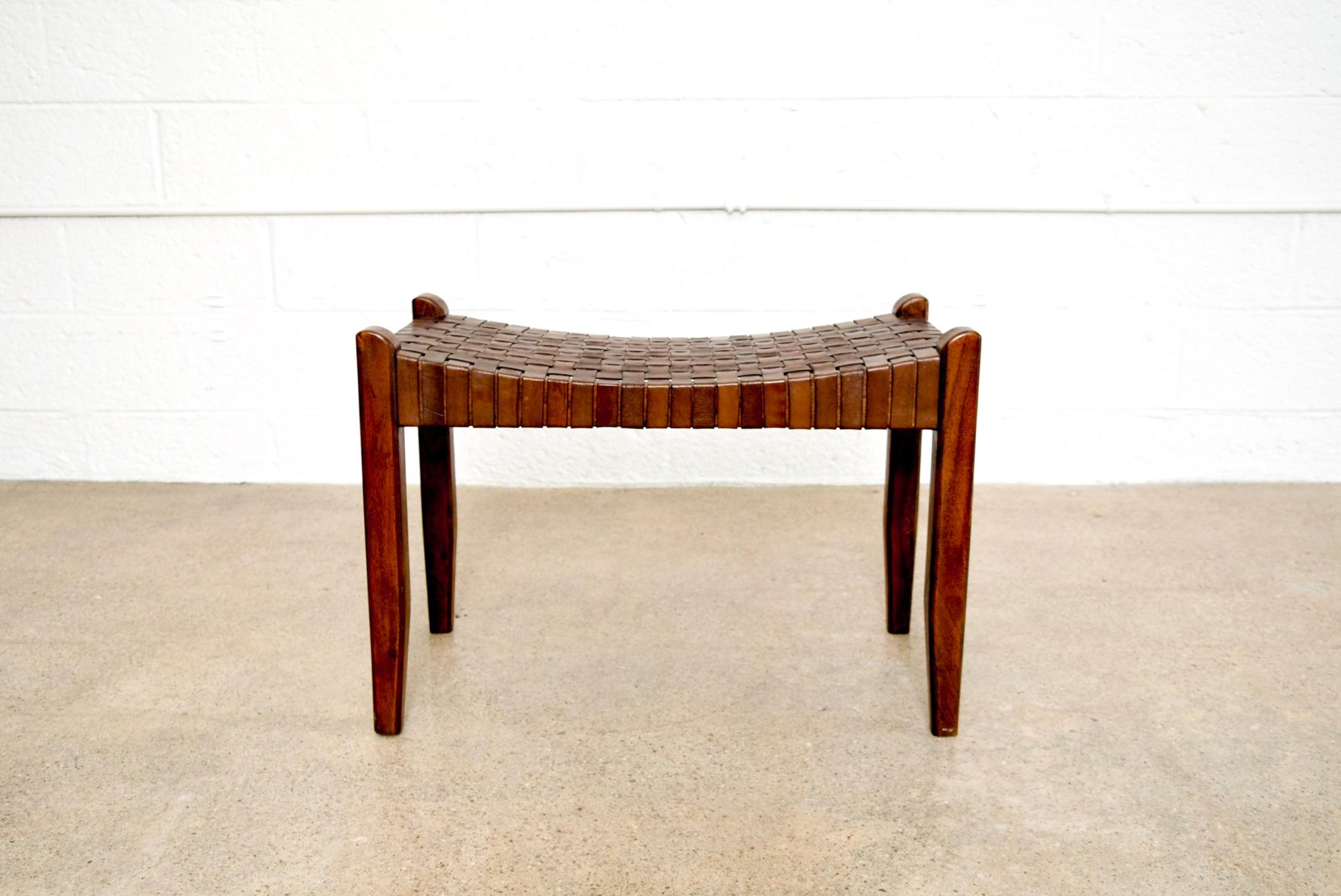 This Vintage Mid Century Modern Wood And Leather Strap Decorative Bench Has  A Clean And Elegant
