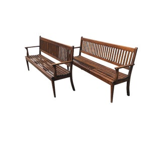 19th Century Slatted Oak Benches - A Pair For Sale
