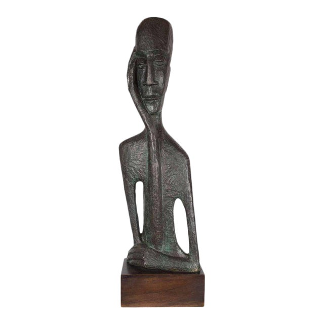 Signed Mid Century Modern Large Scale Patinated Bronze Sculpture For Sale