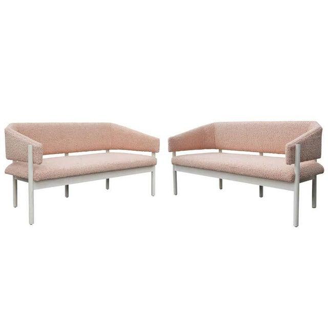 Custom Postmodern Angular Pink Shearling Style White Oak Loveseat / Bench/ Sofa For Sale - Image 9 of 10