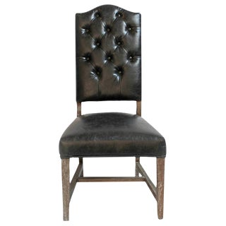 Black Leather Tufted Dining Chair For Sale