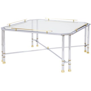 Chrome Brass & Glass Coffee Table For Sale