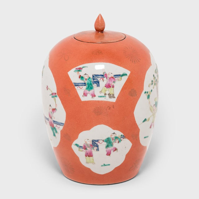 This vase is the perfect example of enduring Chinese symbolism and design. Each side of the ginger jar bears a cartouche...