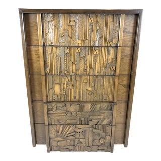Lane Brutalist Patchwork Highboy Dresser For Sale