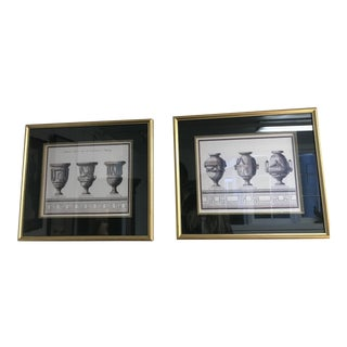 Late 20th Century Vintage French Architectural Prints- A Pair For Sale