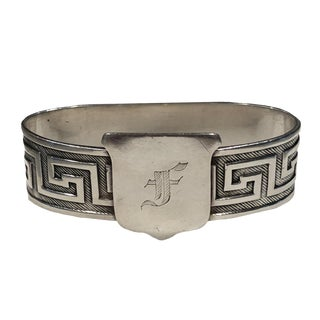 "1900s Vintage Gorham Sterling Silver Neoclassical ""F"" Napkin Ring For Sale"