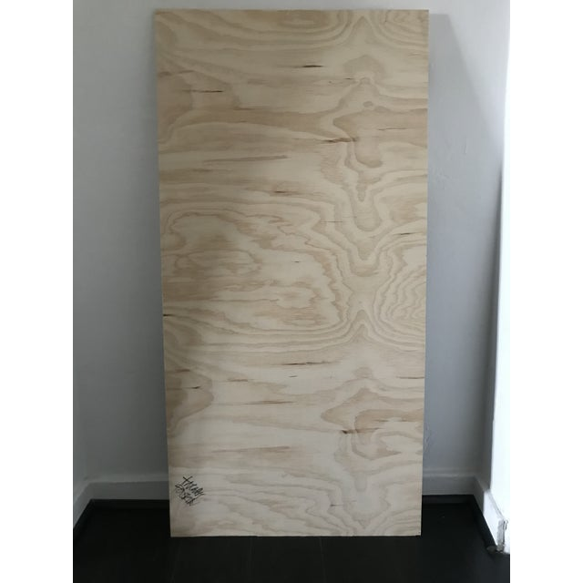 Camo Black and White Abstract Painting on Plywood For Sale - Image 4 of 5