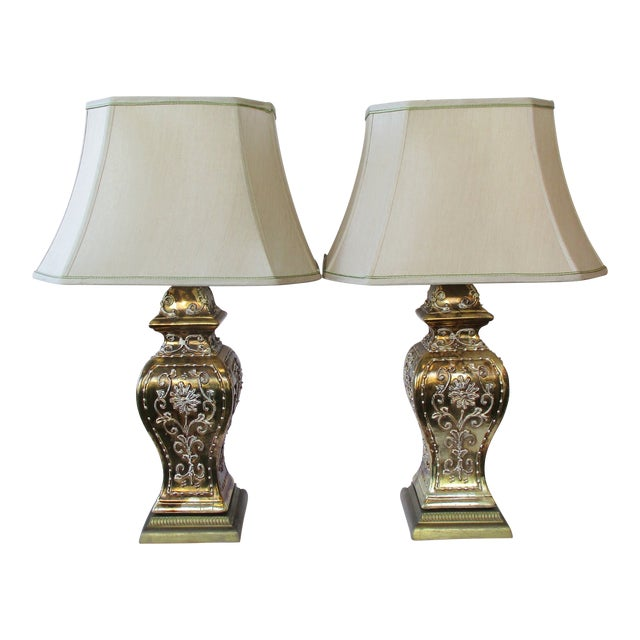 Gold Ginger Jar Lamps, a Pair For Sale