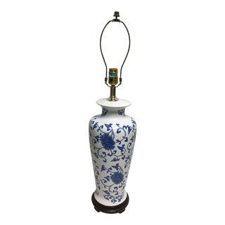 Alsy Blue & White Porcelain Floral Lamp For Sale