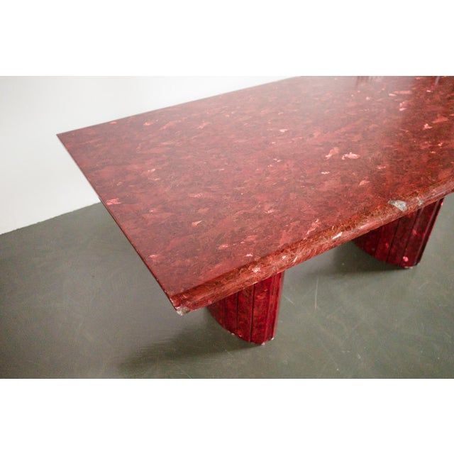 style: modern, minimalist, stone, dining table material: quartz (red) age: vintage condition: good, age related wear - see...