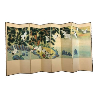 8 Panel Asian Screen or Room Divider - Painted With Cranes and Nature Scene For Sale