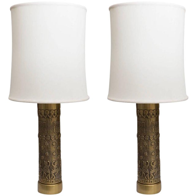 Mid-Century Brass Archaic Style Table Lamps - a Pair - Image 1 of 7