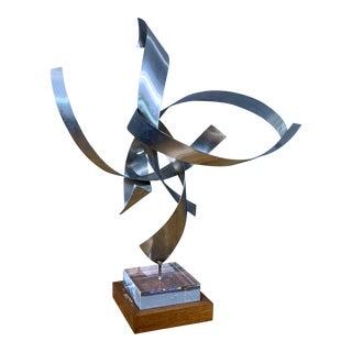 Ribbon Sculpture, Steel, Lucite, Wood, Borme 1980s For Sale