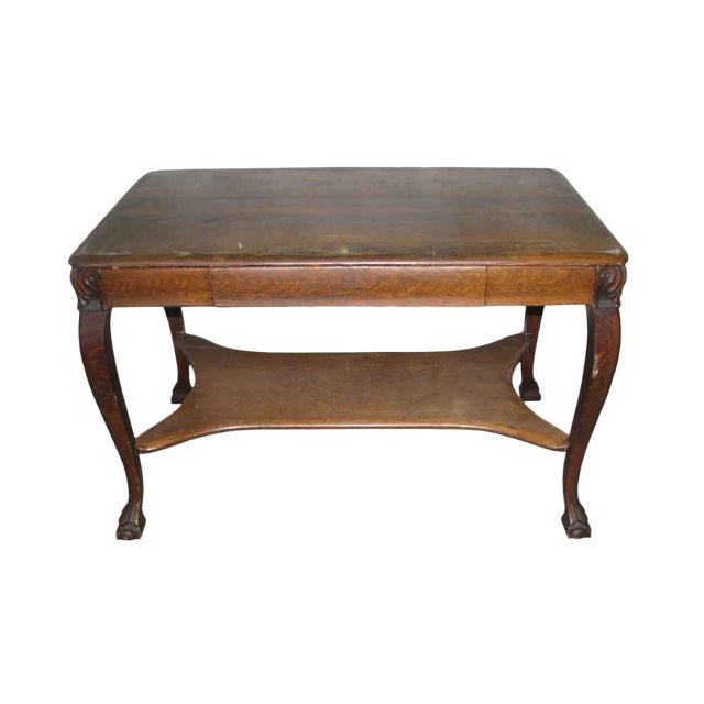 Antique Tiger Oak Table with Cabriole Legs For Sale