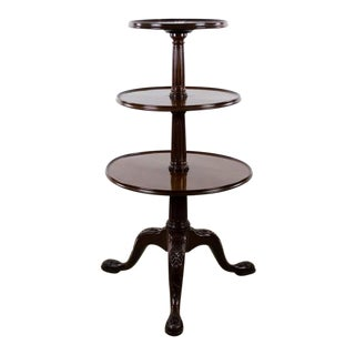 19th Century English Traditional 3-Tier Walnut Dumbwaiter Table For Sale