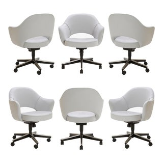 Saarinen Executive Arm Chairs in Fog Luxe Suede, Swivel Base - Set of 6 For Sale