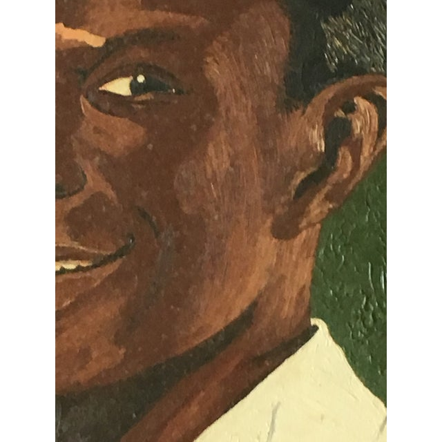 Vintage Young Black Man Portrait Framed Oil Painting on Wood For Sale - Image 4 of 8