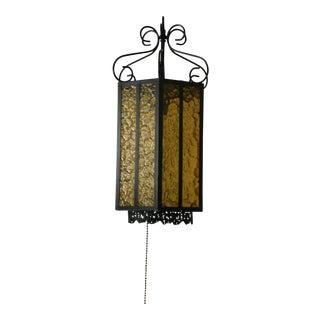 Vintage Spanish Wrought Iron & Amber Glass Pendant Lantern For Sale