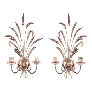 Italian 1940s Giltwood Horn Design Two-Arm Wall Sconces - a Pair For Sale
