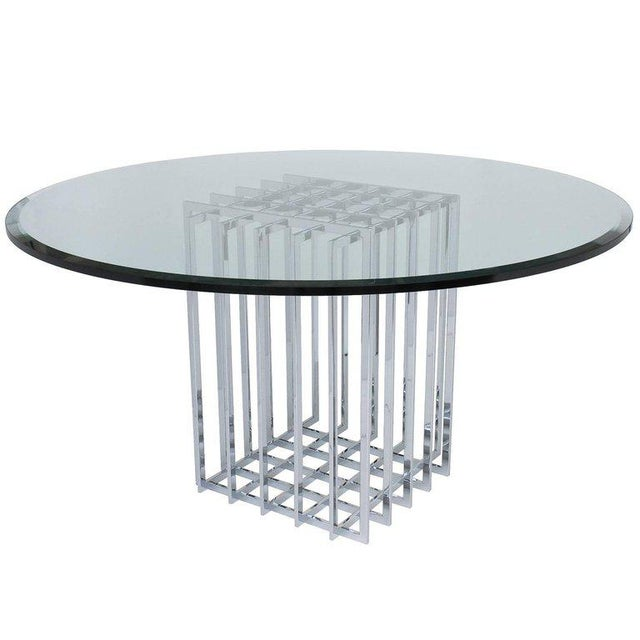 Pierre Cardin Chrome Cage Form Pedestal Dining Table For Sale - Image 11 of 11