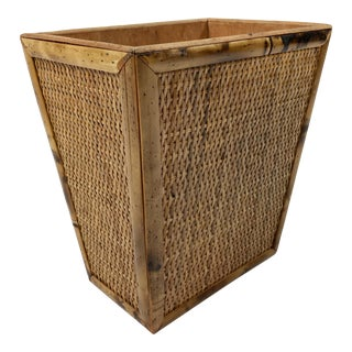 Bamboo and Cane Wastebasket For Sale