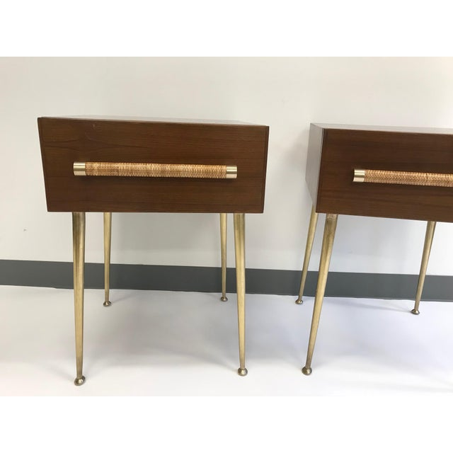 Widdicomb T.H. Robsjohn-Gibbings Walnut and Brass Nightstands - a Pair For Sale - Image 4 of 12