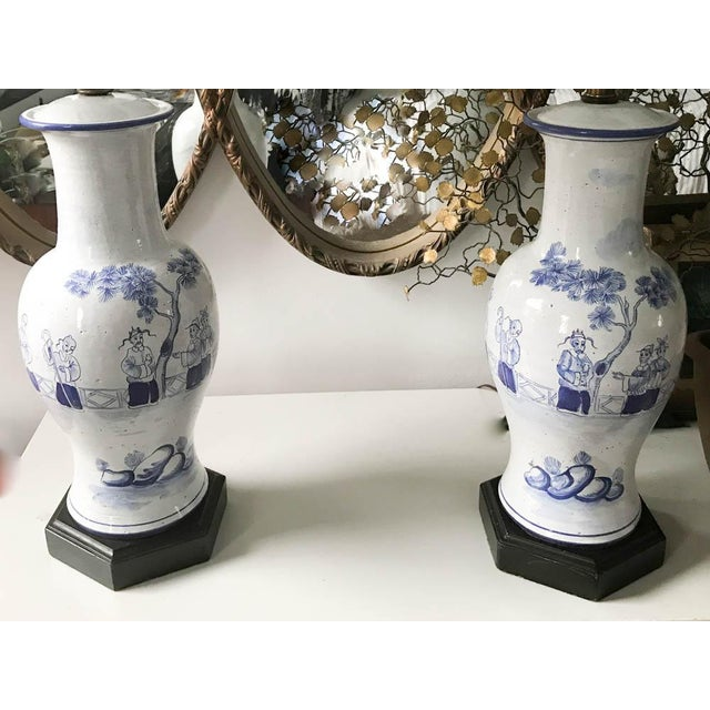 Pair, Frederick Cooper Style Blue and White Asian Lamps For Sale In New York - Image 6 of 10