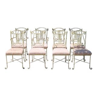 French Wrought Iron Set of 8 Dining Chairs