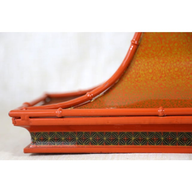Decorative Orange Metal Pagoda For Sale - Image 4 of 11