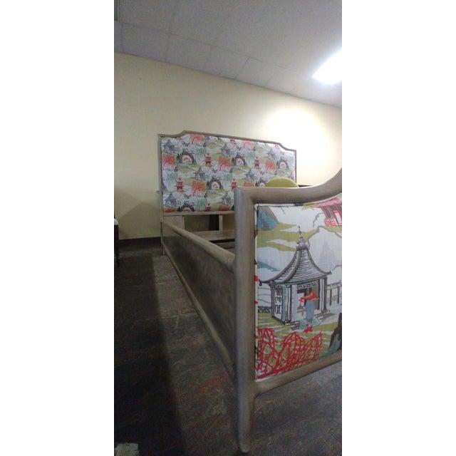 Textile Contemporary Henredon Furniture Quartz Grey Catherine King Upholstered Bedframe For Sale - Image 7 of 11