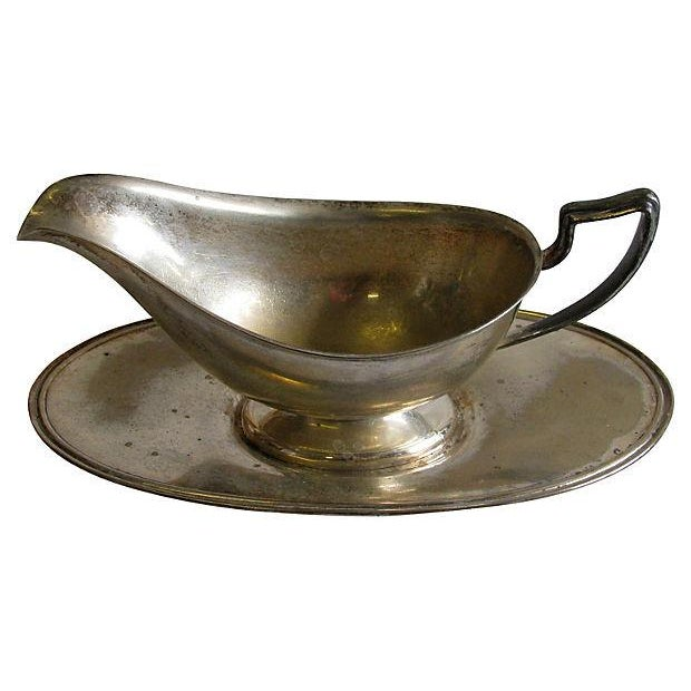 1916 Hotel Silver Gravy Boat & Underplate For Sale