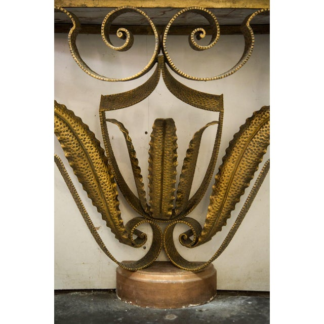 Mid-Century Italian Marble and Brass Demi-Lune Console Table For Sale - Image 9 of 13
