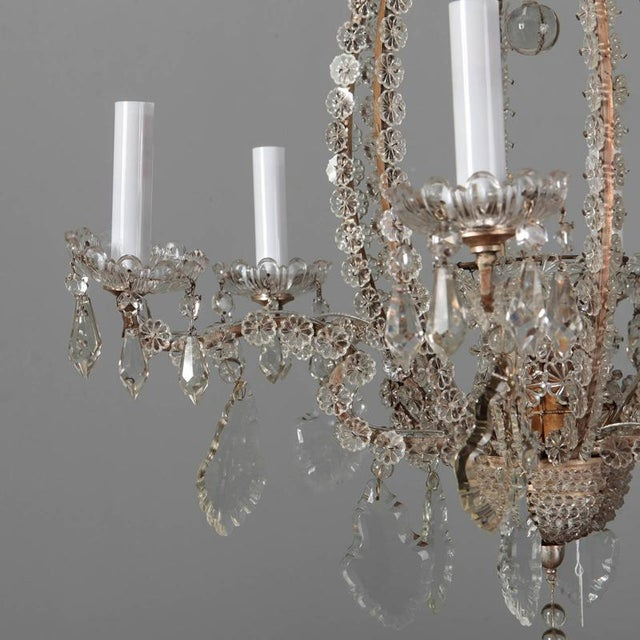 Italian Chandeliers With Round Beads and Original Beaded Canopies - a Pair For Sale - Image 10 of 12
