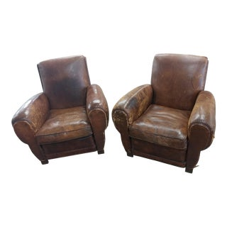 1930s Fabulous French Art Deco Leather Club Chairs -A Pair