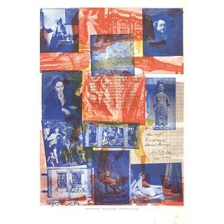 "Robert Rauschenberg Centennial Certificate 39"" X 25.5"" Poster 1970 Pop Art Multicolor, Blue, Red Collage For Sale"