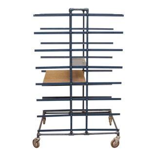 Blue Painted Metal Baker's Cart