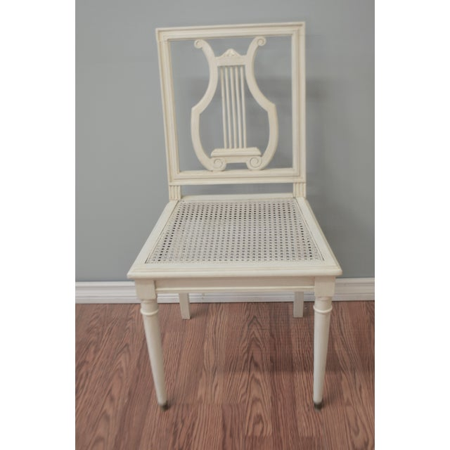 Cream Gustavian Style Painted Lyre Back Dining Chairs With Cane Seat & Linen Seat Cushions - Set of 6 For Sale - Image 8 of 9