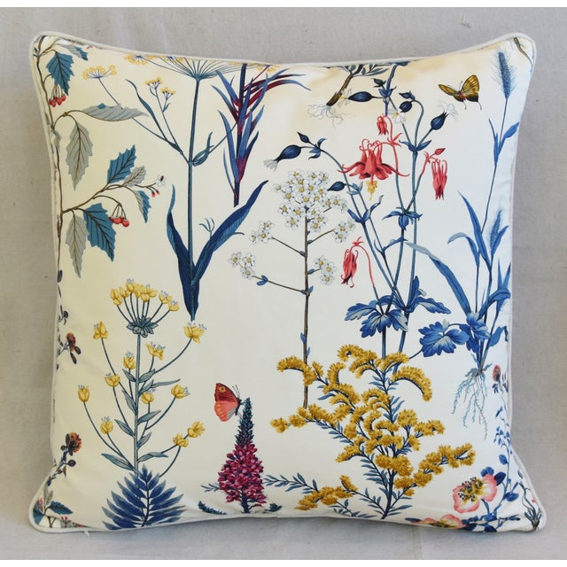 "Contemporary Floral Wildflower Botanical Cotton & Linen Feather/Down Pillows 24"" Square - Pair For Sale - Image 3 of 13"
