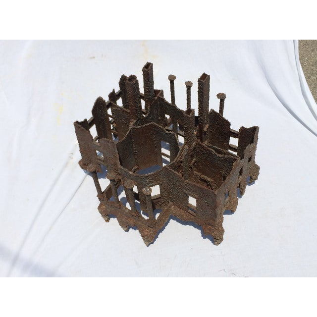 Iron Torch-Cut Brutalist Sculpture Coffee Table - Image 7 of 9