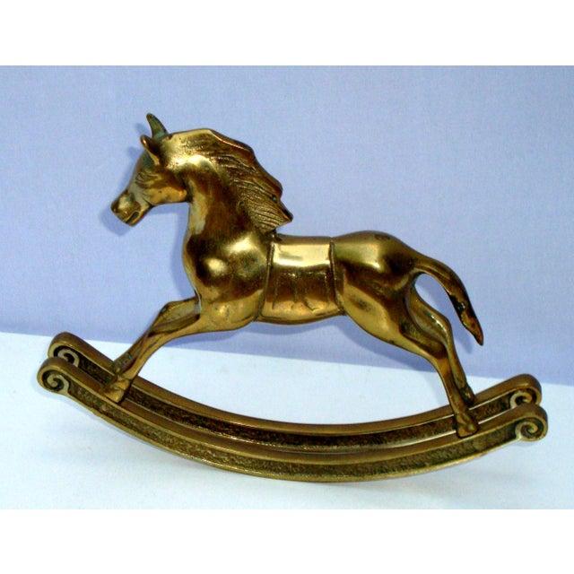 Hollywood Regency Mid-Century Brass Rocking Horse - Image 4 of 11