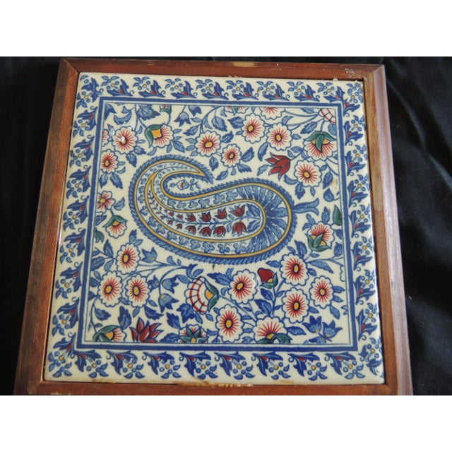Islamic Hand Painted Paisley Ceramic Persian Tile Trivet Inset in Wooden Frame For Sale - Image 3 of 5