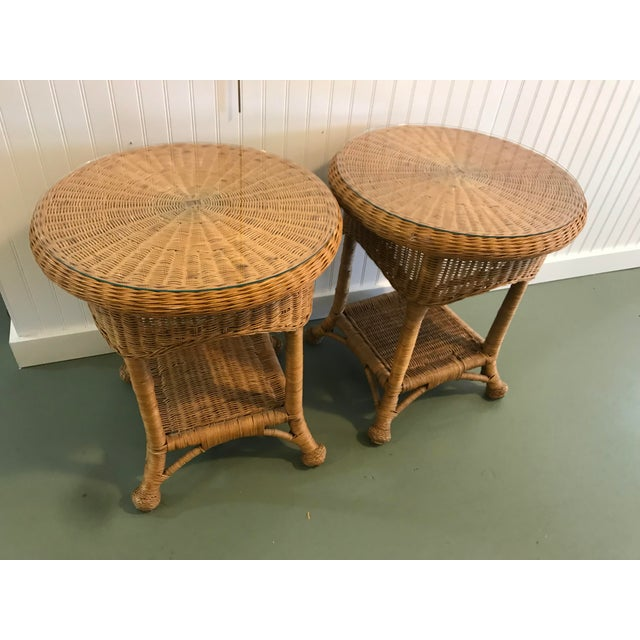 Boho Chic Vintage Wicker Side Tables with Glass Tops - A Pair For Sale - Image 3 of 11