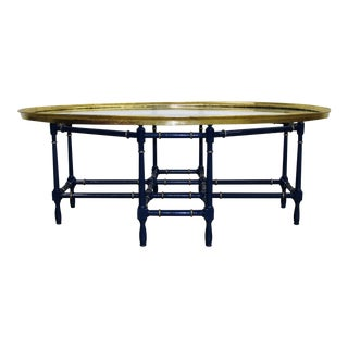 Baker Bamboo & Gilded Oval Glass Tray Cocktail Table