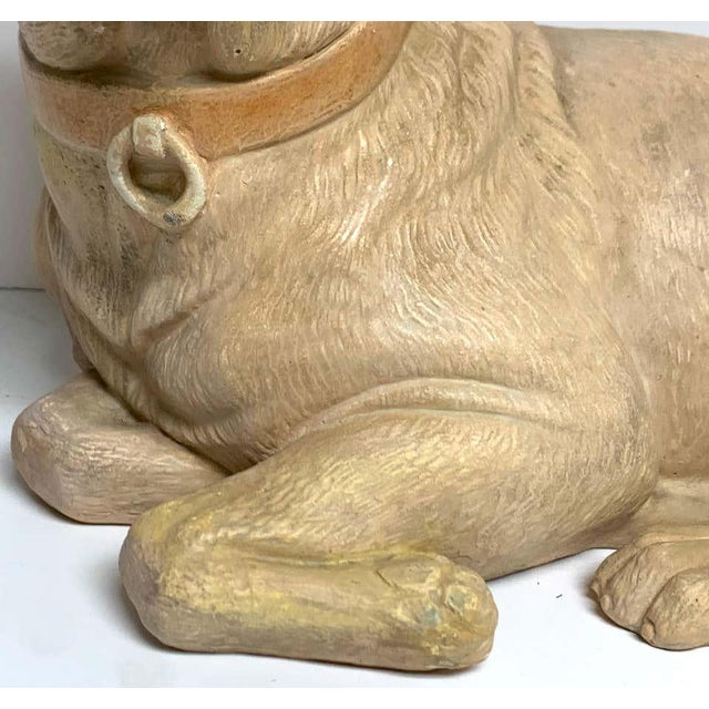Late 19th Century Antique English Terracotta Recumbent Pug Dog For Sale In West Palm - Image 6 of 10