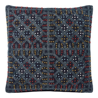 "Justina Blakeney X Loloi Navy / Multi 18"" X 18"" Cover with Down Pillow For Sale"