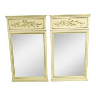 Italian Style Cream Painted Trumeau Mirrors - a Pair