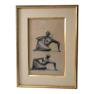 """Charcoal Drawing """"Two Seated Figures"""" by Frederick Edward McWilliam For Sale"""